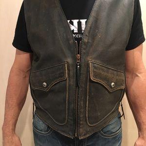 Vintage Harley Davidson Distressed Leather Vest